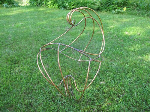 it is made out of copper tubing, about 2.5 x3 x3'